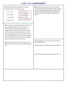 7.EE.1,4 Common Core Assessment/Test