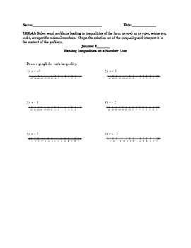 7.EE.4.b Inequalities (Graphing, Writing, and Solving Inequalities)