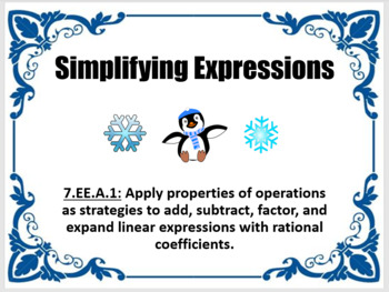 7EEA1 Simplifying Expressions Winter Theme