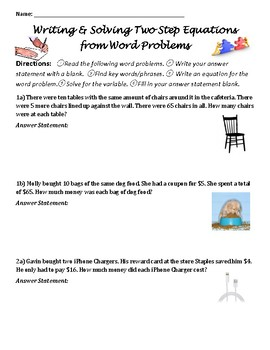 7EEB4 Writing Two Step Equations from Word Problems