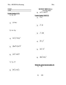 7H - TEST REVIEW - Factoring (TOT Unit 4)