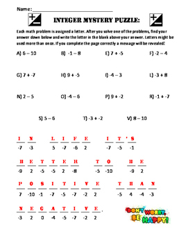 7NAS1 Integer Mystery Puzzle
