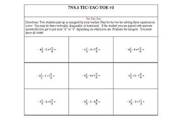 7NS.1 Addition and Subtraction of Rational Numbers
