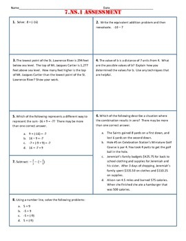 7.NS. Common Core Assessments/Tests - Standards 7.NS.1 and 7.NS.2