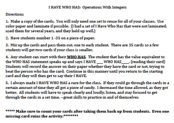 7.NS Operations with Integers I Have Who Has Class Activity #2