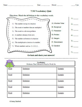 7.NS CCSS (Integer Assessments) EDITABLE