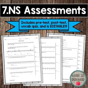 7.NS CCSS (Integer Assessments) EDITABLE