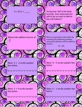 7.NS.1 Adding & Subtracting Rational Numbers Task Cards
