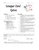 7.NS.1 Integer Card Game - Modeling Addition and Subtraction with Number Lines