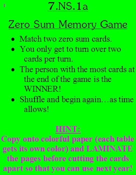 7.NS.1a Opposite Quantities to Make Zero Memory Game