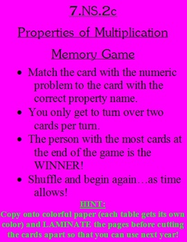 7.NS.2c Memory Game with Multiplication Properties