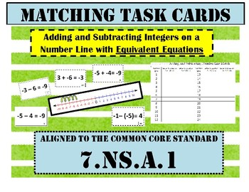 7NSA1 Adding and Subtracting Integers Number Line Match