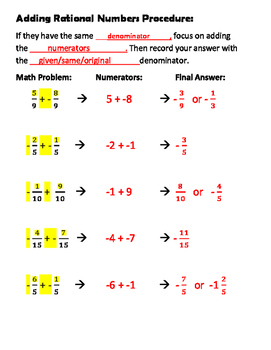 7NSA1 Scaffolding Adding Rational Numbers