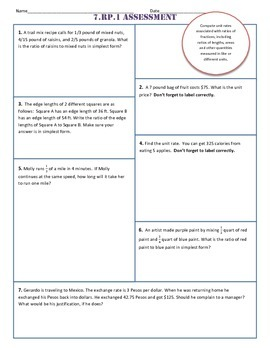 7.RP Common Core Test/Assessments - for ALL standards