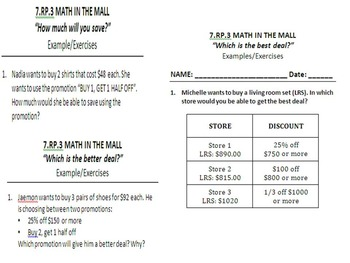 7.RP.3 Percent: Math in the Mall