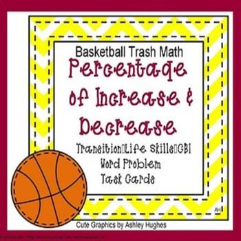 7.RP.A.3 Percentage Increase/Decrease Basketball Task Cards Game