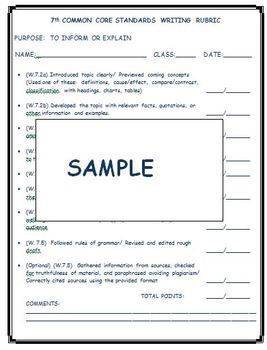 7TH STUDENT-FRIENDLY COMMON CORE STANDARDS WRITING RUBRICS