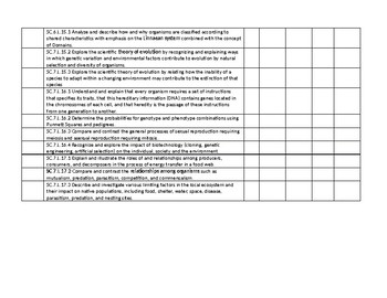 7TH GRADE FLORIDA NGSS SCIENCE STANDARDS - INDIVIDUAL STUDENT MASTERY CHECKLIST