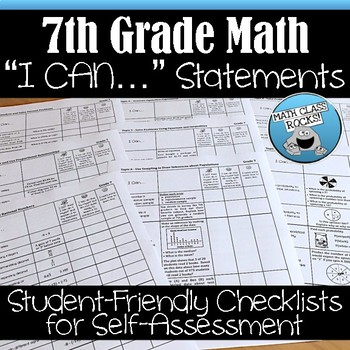 7TH GRADE MATH I CAN STATEMENTS CHECKLISTS FOR SELF-ASSESSMENT