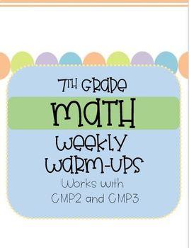 7TH grade math warm-ups **GROWING BUNDLE**