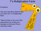7's Multiplication Facts PowerPoint with Tips and Graphic