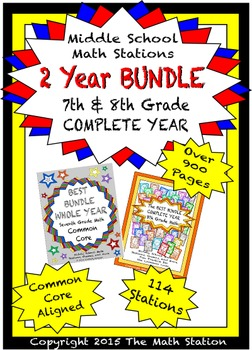 7th & 8th Grade BUNDLE Middle School Math Stations - COMPL