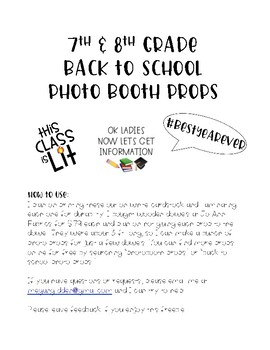 7th & 8th Grade Back to School Photobooth Props