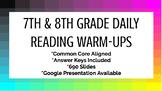 7th & 8th Grade Daily Reading Warm-Ups (Common Core Aligned)