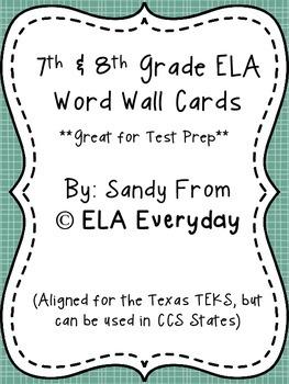7th & 8th Grade ELA Word Wall