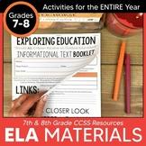 7th & 8th Grade English Language Arts Resources for ENTIRE