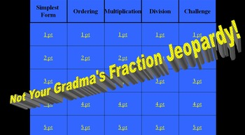 7th & 8th Grade Fractions Review Jeopardy by Federico Pereyra | TpT