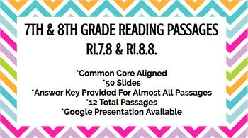 7th & 8th Grade Reading Passages - RI.7.8. - RI.8.8.