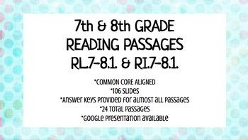 7th & 8th Grade Reading Passages - RL.7.1./RI.7.1. - RL.8.1./RI.8.1.
