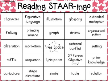 7th & 8th Grade Reading STAAR -ingo Pack by ELA Everyday | TpT