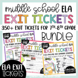 7th 8th Literature Informational Grammar Exit Tickets Assessment BUNDLE