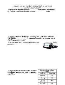 7th Acc. Math ~ Whole Chapter~ Guided Notes  (The Language of Algebra)