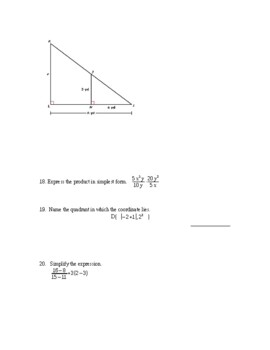 7th Accelerated Math Midterm Exam