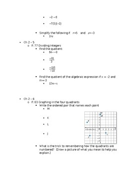 7th Accelerated Study Guide for Operations with Integers Test