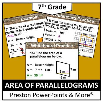(7th) Area of Parallelograms in a PowerPoint Presentation