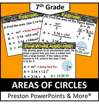(7th) Areas of a Circles in a PowerPoint Presentation