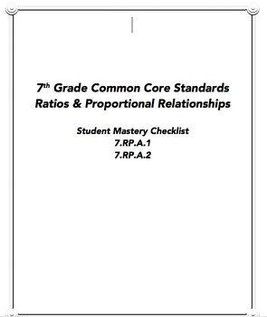 7th CCSS Ratios and Proportions Student Mastery Checklist