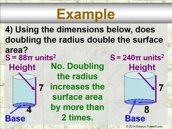 (7th) Changing Dimensions in Volume and Surface Area in a PowerPoint