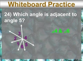 (7th) Adjacent and Vertical Angles in a PowerPoint Presentation