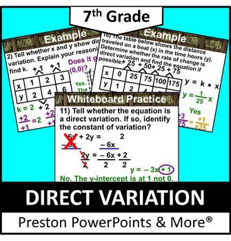 (7th) Direct Variation in a PowerPoint Presentation