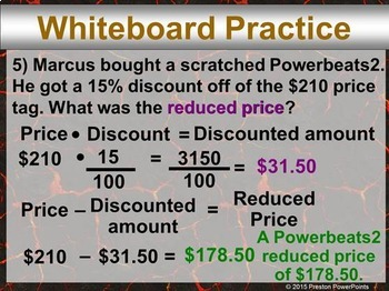 (7th) Discounts and Markups in a PowerPoint Presentation