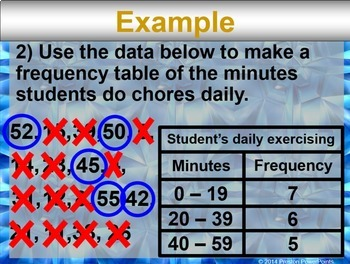 (7th) Frequency Table, Stem & Leaf Plot, Line Plot in a PowerPoint Presentation