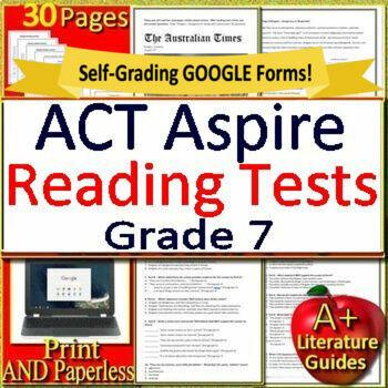 7th Grade ACT Aspire Test Prep Reading Practice Tests Print + Google  Paperless!