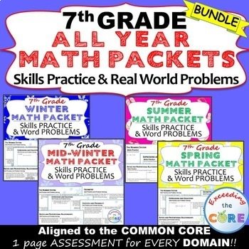 7th Grade ALL YEAR MATH PACKETS Bundle - { COMMON CORE Ass