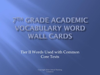 7th Grade Academic Word Wall Cards