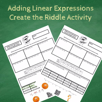 7th Grade Adding Linear Expressions Create the Riddle Activity